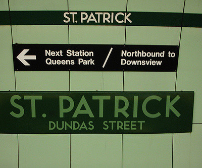 My destination: St. Patrick subway station, Toronto